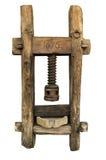 Oud houten mortier voor graangewas, gedateerde 1676 Stock Foto