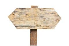 Oud houten teken dat op een witte achtergrond wordt geïsoleerd. Stock Fotografie