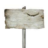 Oud houten teken dat op witte achtergrond wordt geïsoleerd Stock Fotografie