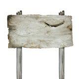 Oud houten teken dat op witte achtergrond wordt geïsoleerd Stock Foto's