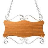 Oud houten teken op de kettingen. Stock Afbeelding