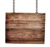 Oud houten uithangbord met geïsoleerden kettingen Stock Afbeelding