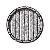 Oud houten vat in gravurestijl Hoogste mening van bier, wijn, het traditionele vat van de rumwhisky Vector graphhics royalty-vrije illustratie