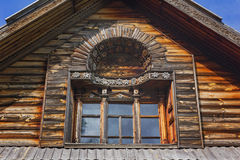 Oud houten venster met patroon Royalty-vrije Stock Afbeeldingen