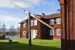 Oud houten woningshuis Ytterhogdal Zweden Stock Afbeeldingen