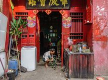 Oud huis in Chinatown royalty-vrije stock fotografie