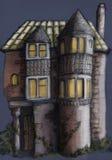 Oud huis in de nacht Stock Afbeelding
