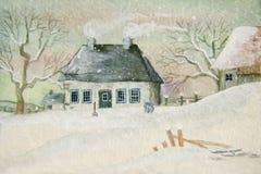 Oud huis in de sneeuw Stock Fotografie