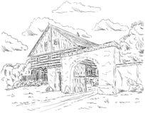 Oud huis in dorp Stock Afbeelding