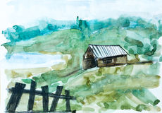 Oud huis in groen bos, waterverf het schilderen Stock Foto