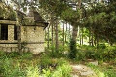 Oud huis in het bos royalty-vrije stock afbeeldingen