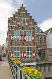 Oud huis met blinden in Gorinchem. Royalty-vrije Stock Afbeeldingen