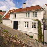 Oud huis in Stavanger, Noorwegen. Stock Fotografie