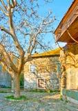 Oud huis uit klooster Iviron Stock Foto's