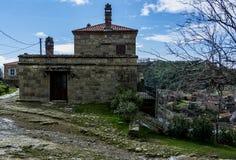 Oud huis van Adatepe-dorp, Ayvacik, Canakkale, Turkije stock fotografie