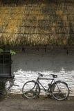 Oud Iers met stro bedekt plattelandshuisje stock foto's