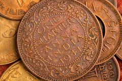 Oud Indisch Muntstuk van de Munt - Één - kwart Anna Royalty-vrije Stock Foto