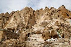 Oud Iraans holdorp in de rotsen van Kandovan De erfenis van Perzië royalty-vrije stock foto