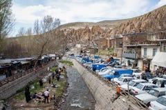 Oud Iraans holdorp in de rotsen van Kandovan De erfenis van Perzië Unesco stock fotografie