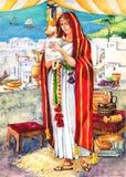 Oud Israël. Moeder stock illustratie