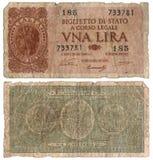 Oud Italiaans Bankbiljet - Één Lires 1933 Stock Foto