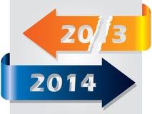 Oud jaar versus nieuw die jaar met pijlen wordt geïllustreerd Royalty-vrije Stock Foto