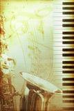 Oud jazzdocument met sleutel Stock Foto's
