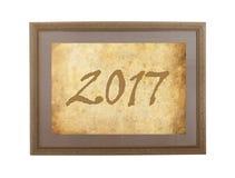 Oud kader met pakpapier - 2017 Stock Foto