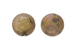 1860 oud Kambodja zeldzaam muntstuk Royalty-vrije Stock Foto's