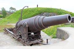 Oud kanon in de overzeese vesting van Suomenlinna Stock Foto