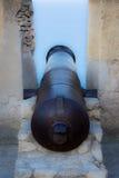 Oud kanon op een muur Royalty-vrije Stock Foto
