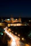 Oud kasteel bij Nacht Stock Foto's