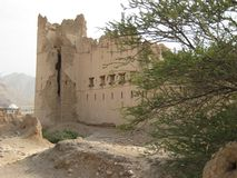 Oud kasteel in het sultanaat van Oman royalty-vrije stock foto's