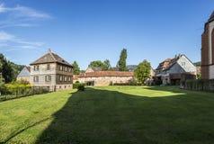 Oud kasteel in middeleeuwse stad van Buedingen Stock Foto's