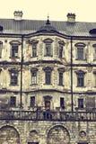 Oud kasteel Podgoretskykasteel Elementen van de architectuur van het oude kasteel Stock Foto
