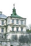Oud kasteel Podgoretskykasteel Elementen van de architectuur van het oude kasteel Stock Foto's