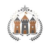 Oud Kasteelembleem Heraldisch Wapenschild decoratieve embleem ge?soleerde vectorillustratie Antiquiteit logotype in oude stijl op royalty-vrije illustratie