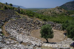 Oud Kaunos theater, Turkije Stock Foto