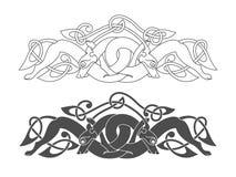 Oud Keltisch mythologisch symbool van wolf, hond, dier Stock Foto's