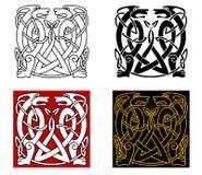 Oud Keltisch ornament met wilde dieren Stock Afbeeldingen