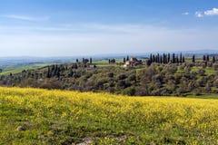 Oud koloniaal huis in heuvels en het land van Toscanië stock foto's