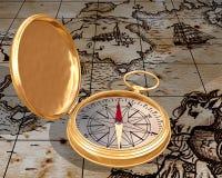 Oud kompas op kaart Stock Afbeeldingen