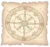 Oud kompas op papier. Royalty-vrije Stock Foto's