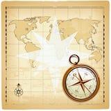 Oud kompas op uitstekende kaart Royalty-vrije Stock Foto's