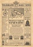 Oud kranten vectormalplaatje Retro krantenpapier met tekst en beelden royalty-vrije illustratie