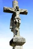 Oud kruis, en Christus in hemel. Royalty-vrije Stock Afbeeldingen