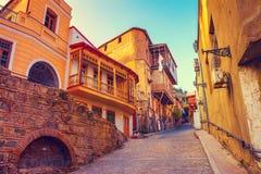 Oud kwart in de stad van Tbilisi Stock Afbeeldingen