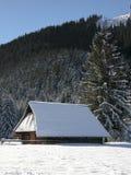 Oud landbouwbedrijf in de bergen bij de winter Stock Foto's