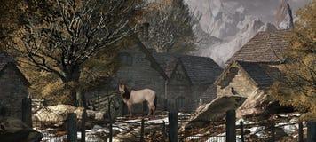 Oud Landbouwbedrijf in de Zwitserse Alpen Stock Fotografie