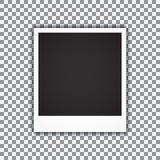 Oud leeg realistisch fotokader met transparante schaduw op plaid zwarte witte achtergrond Vector illustratie Royalty-vrije Stock Afbeeldingen